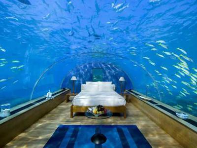 8. Подводный номер для молодоженов, Мальдивы<br /><br />Если все, что находится на поверхности земли, будет разрушено, то можно укрыться под водой. На этот случай в Индийском океане на глубине 5 метров есть подводный номер, в стоимость которого входит бесплатное шампанское.