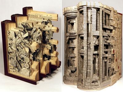 Современный художник из Атланты тщательно расслаивает книги, используя ножи, щипцы и хирургические инструменты. Работы Деттмера можно увидеть на многих престижных выставках в США, Мексике и Европе.