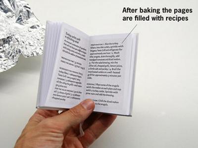 Эта книга была создана хорватскими книгоиздателями. Для того чтобы приготовить какое-нибудь блюдо по рецепту из нее, нужно сначала запечь альманах, - только после этого на его страницах появится текст.